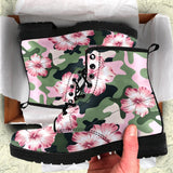 Pink hibiscus camouflage Women Camo Women & Men Leather Boots