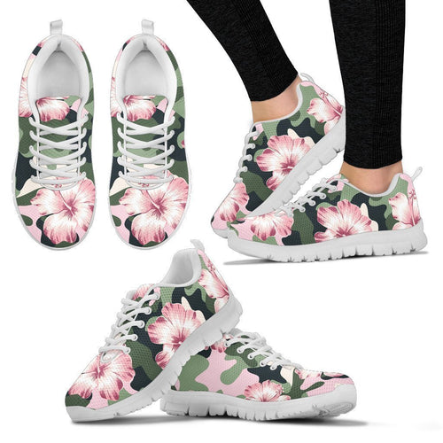 Pink hibiscus camouflage Women Sneakers