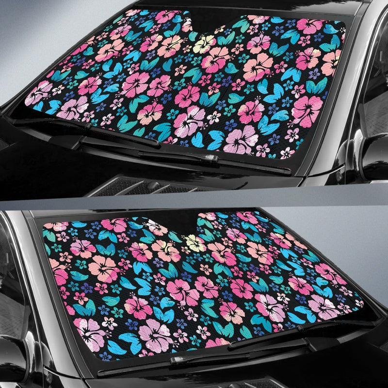 Pink Hibiscus Hawaiian Flower Car Sun Shade-JorJune