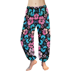 Pink Hibiscus Hawaiian Flower Harem Pants