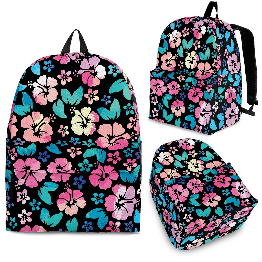 Pink Hibiscus Hawaiian Flower Premium Backpack Jorjune