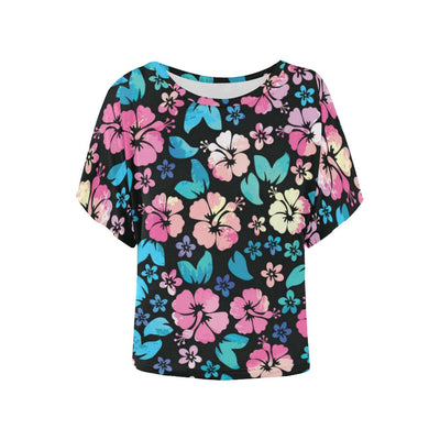Pink Hibiscus Hawaiian Flower Women Batwing Tops Shirt