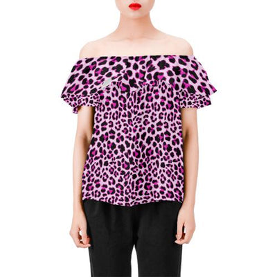 Pink Leopard Print Off Shoulder Ruffle Blouse