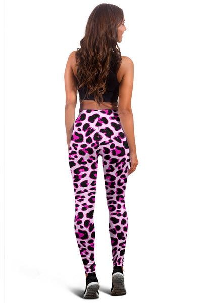 Pink Leopard Print Women Leggings