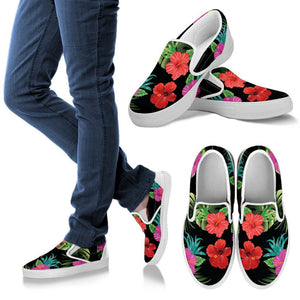 Pink Red Hibiscus Tropical Flowers Men Canvas Slip On Shoes