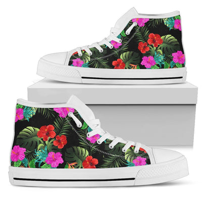 Pink Red Hibiscus Tropical Flowers Men High Top Canvas Shoes