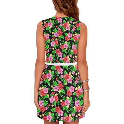 Pink Red Hibiscus Pattern Print Design HB023 Sleeveless Mini Dress-JorJune