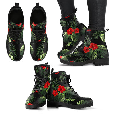 Pink Red Hibiscus Tropical Flowers Women & Men Leather Boots