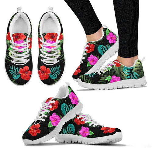 Pink Red Hibiscus Tropical Flowers Women Sneakers