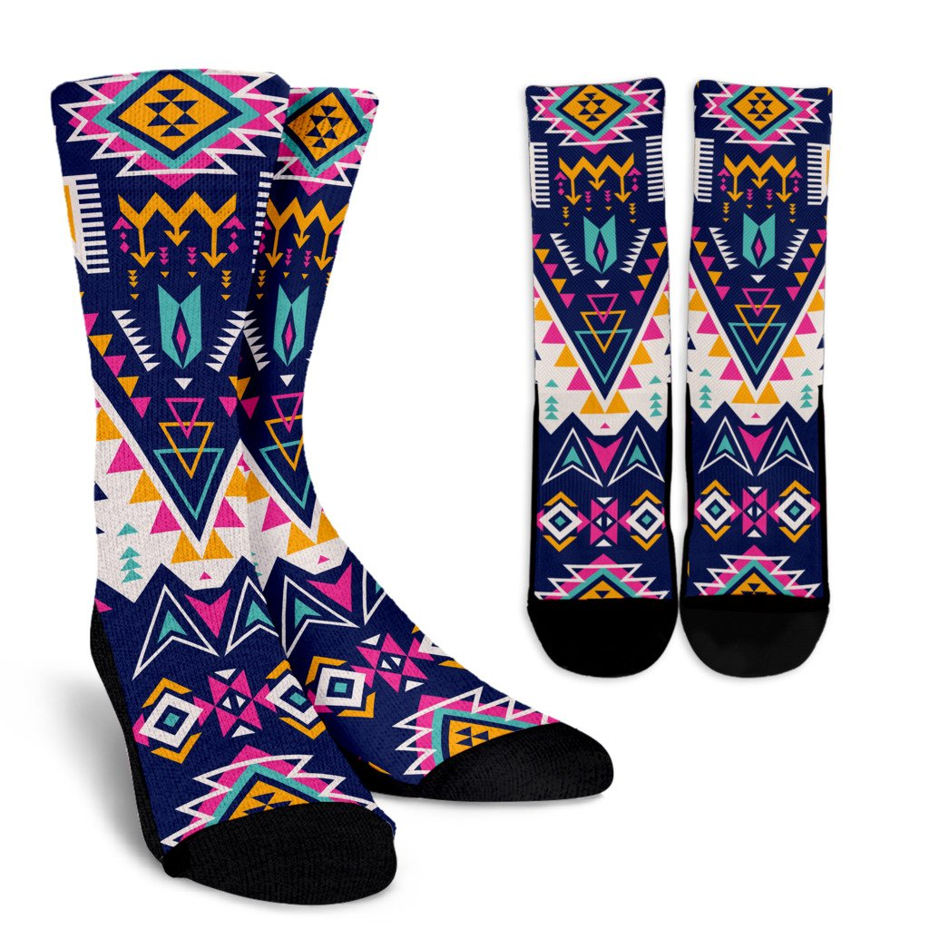 Pink Tribal Aztec native american Crew Socks