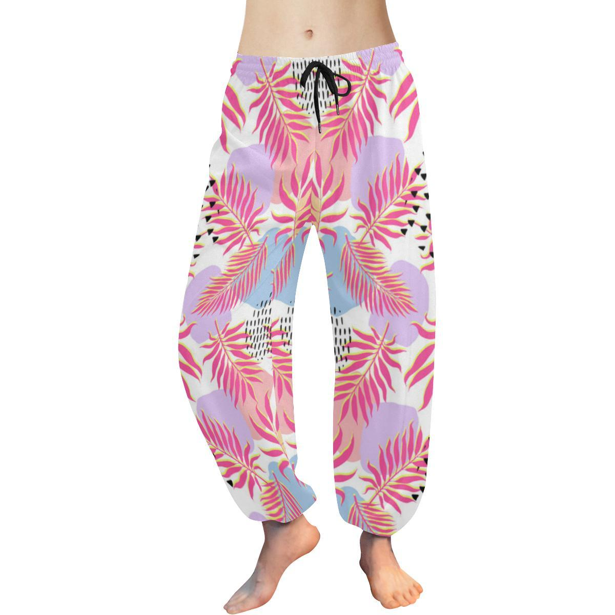 Pink Tropical Palm Leaves Harem Pants