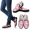 Pink Tropical Palm Leaves Men Canvas Slip On Shoes