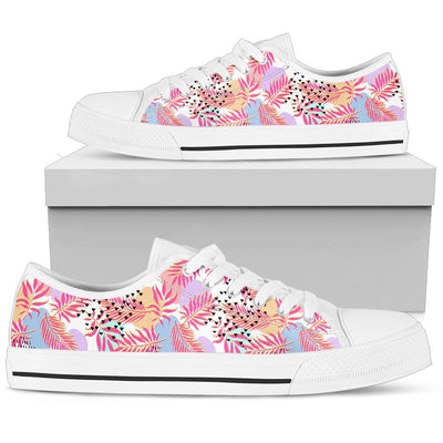Pink Tropical Palm Leaves Men Low Top Canvas Shoes