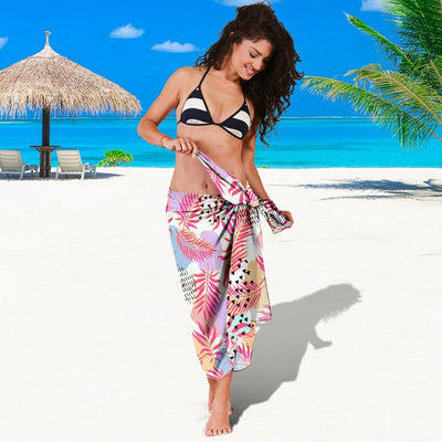 Pink Tropical Palm Leaves Beach Sarong Pareo Wrap