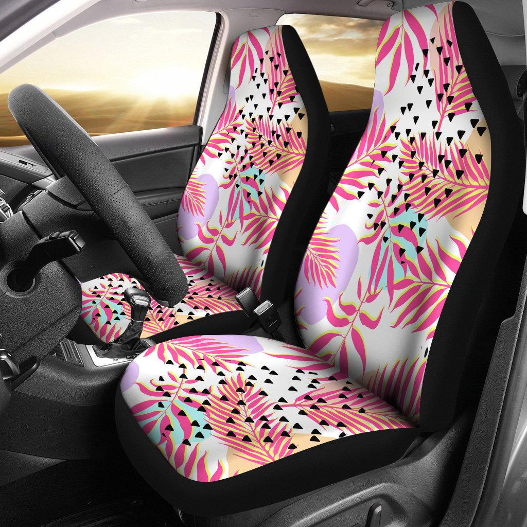 Pink Tropical Palm Leaves Universal Fit Car Seat Covers
