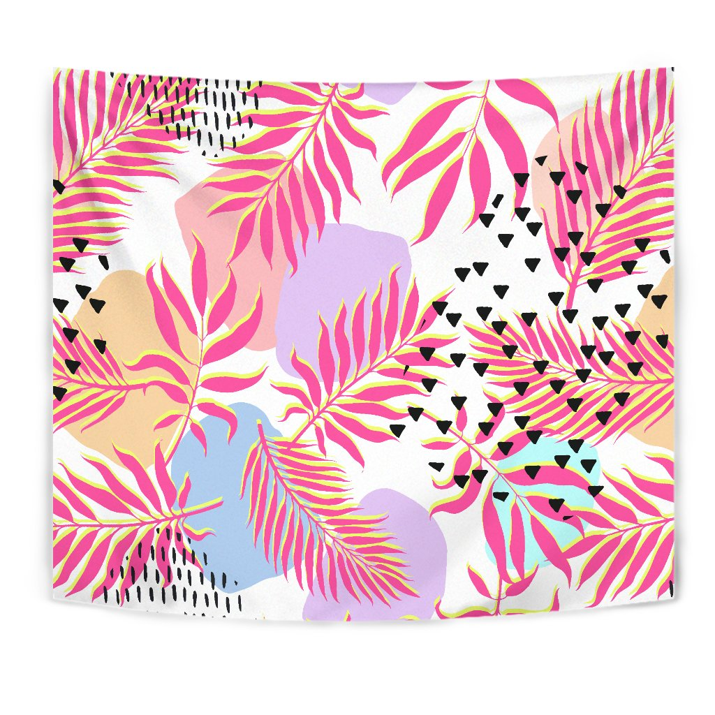 Pink Tropical Palm Leaves Wall Tapestry
