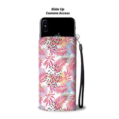 Pink Tropical Palm Leaves Wallet Phone Case