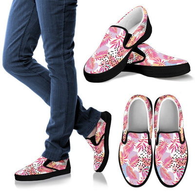Pink Tropical Palm Leaves Women Canvas Slip On Shoes