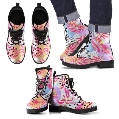 Pink Tropical Palm Leaves Women & Men Leather Boots