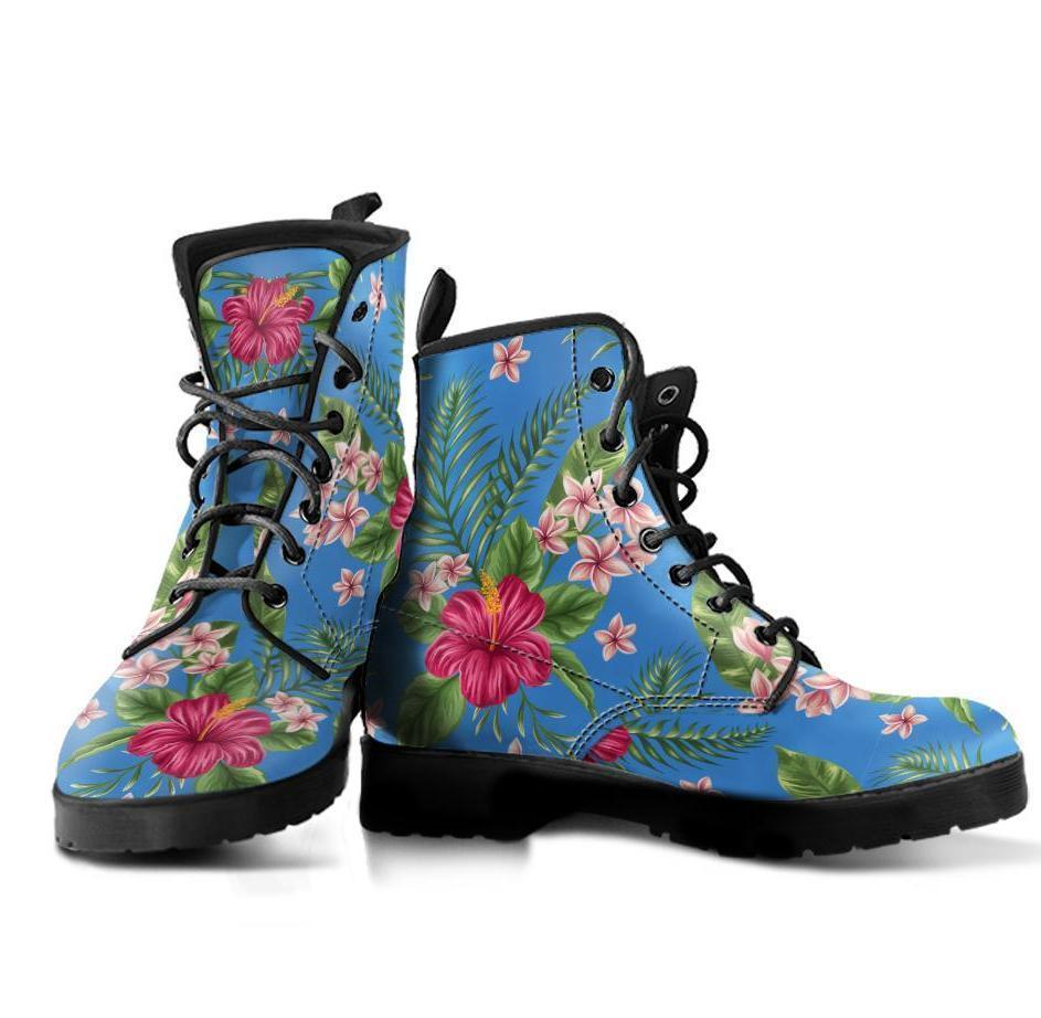 Plumeria Hibiscus Hawaiian flower Women & Men Leather Boots