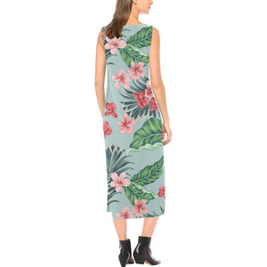 Plumeria Pattern Print Design PM027 Sleeveless Open Fork Long Dress