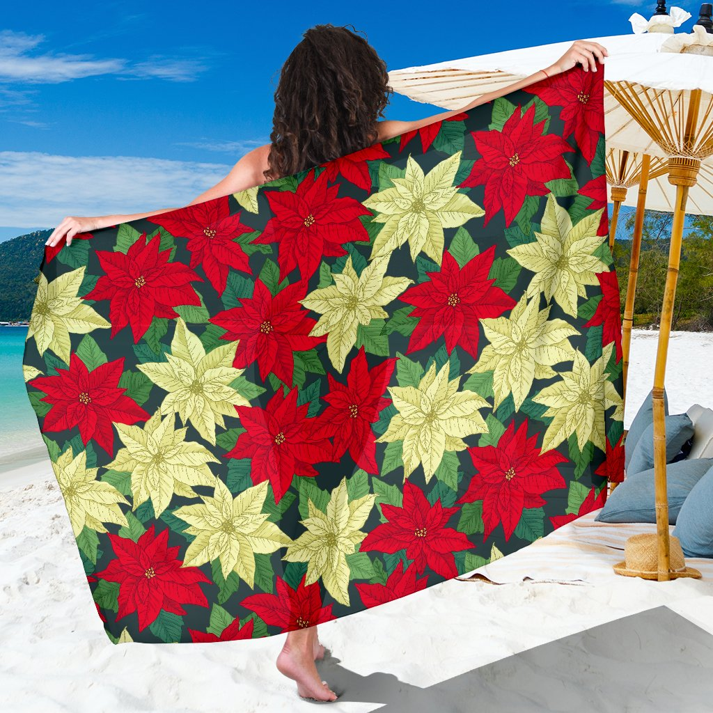 Poinsettia Pattern Print Design POT06 Sarong Pareo Wrap-JORJUNE.COM
