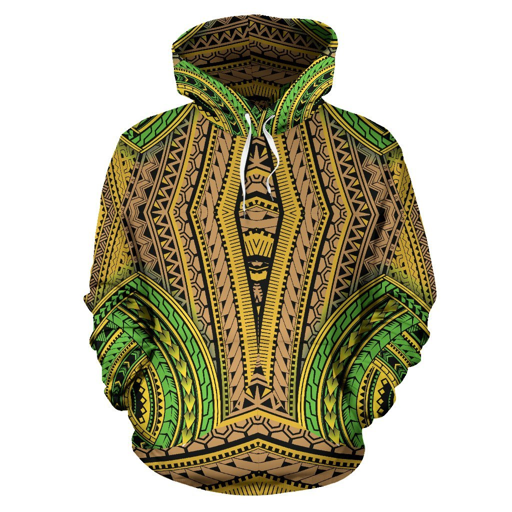 Polynesian Hawaiian Tribal Color All Over Print Hoodie