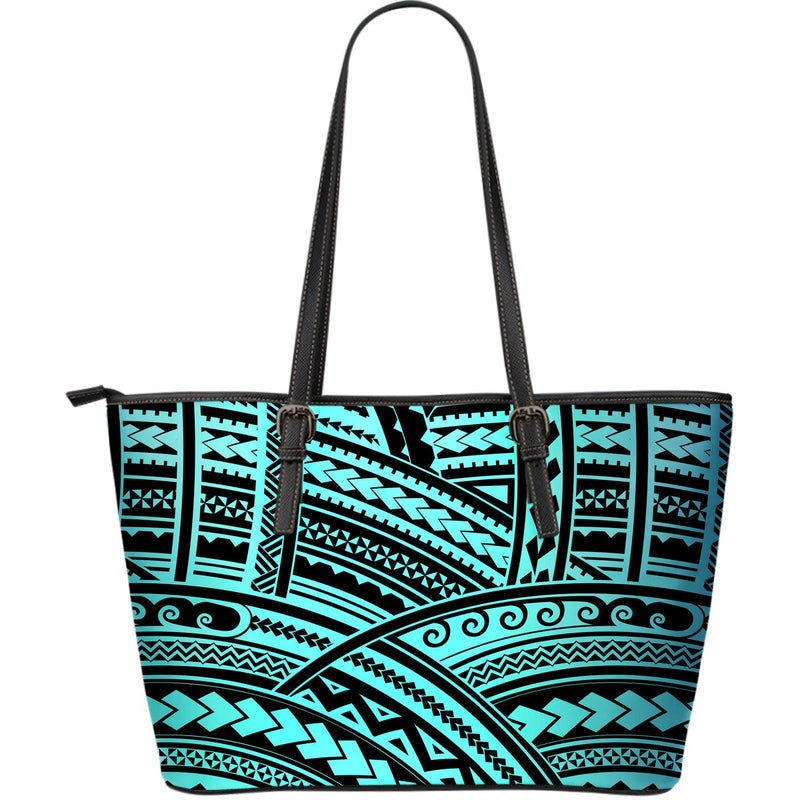 Polynesian Tribal Large Leather Tote Bag
