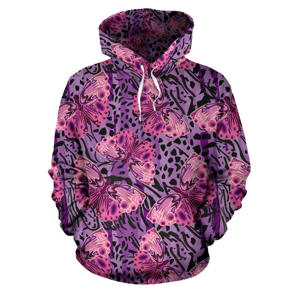 Purple Butterfly Leopard All Over Print Hoodie