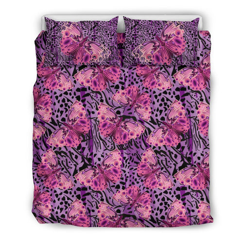 Purple Butterfly Leopard Duvet Cover Bedding Set