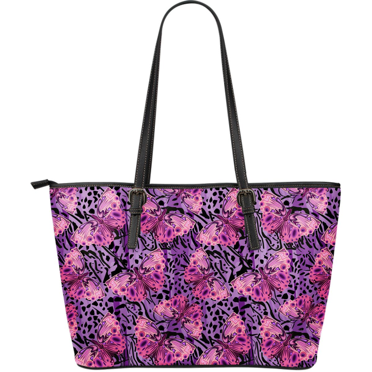 Purple Butterfly Leopard Large Leather Tote Bag