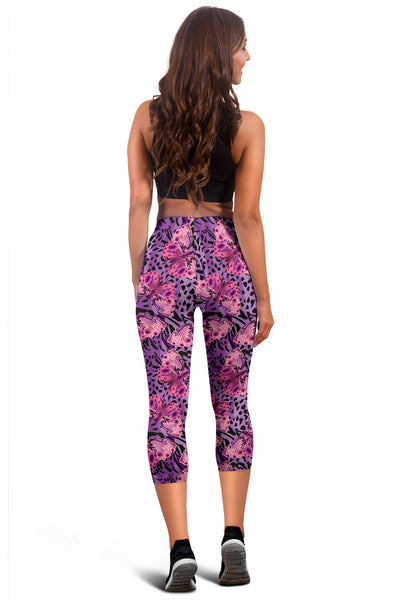 Purple Butterfly Leopard Women Capris