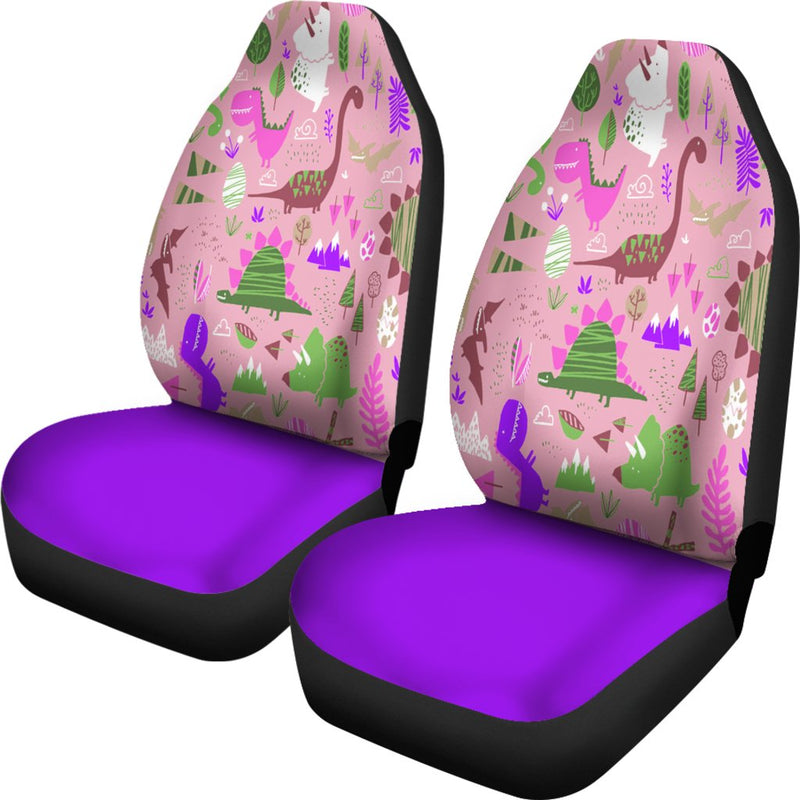 Purple Dinosaur Universal Fit Car Seat Covers