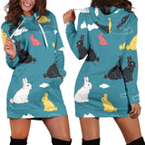 Rabbit Pattern Print Design RB014 Women Hoodie Dress