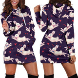 Rabbit Pattern Print Design RB016 Women Hoodie Dress