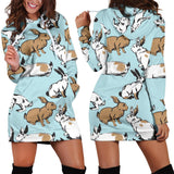 Rabbit Pattern Print Design RB018 Women Hoodie Dress