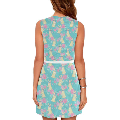 Rabbit Pattern Print Design RB05 Sleeveless Mini Dress-JorJune