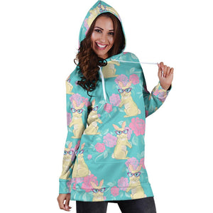 Rabbit Pattern Print Design RB05 Women Hoodie Dress
