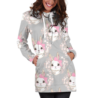 Rabbit Pattern Print Design RB07 Women Hoodie Dress