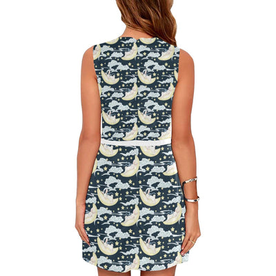 Rabbit Sleeping Pattern Print Design RB08 Sleeveless Mini Dress-JorJune