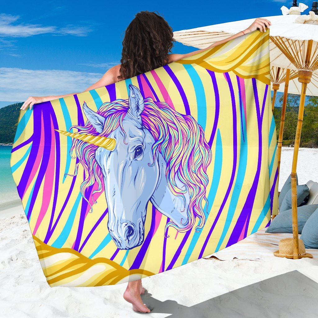 Rainbow Unicorn Beach Sarong Pareo Wrap