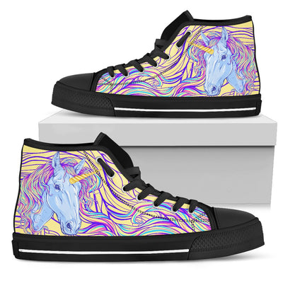 Rainbow Unicorn Women High Top Canvas Shoes
