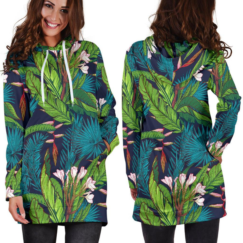 Rainforest Pattern Print Design RF01 Women Hoodie Dress