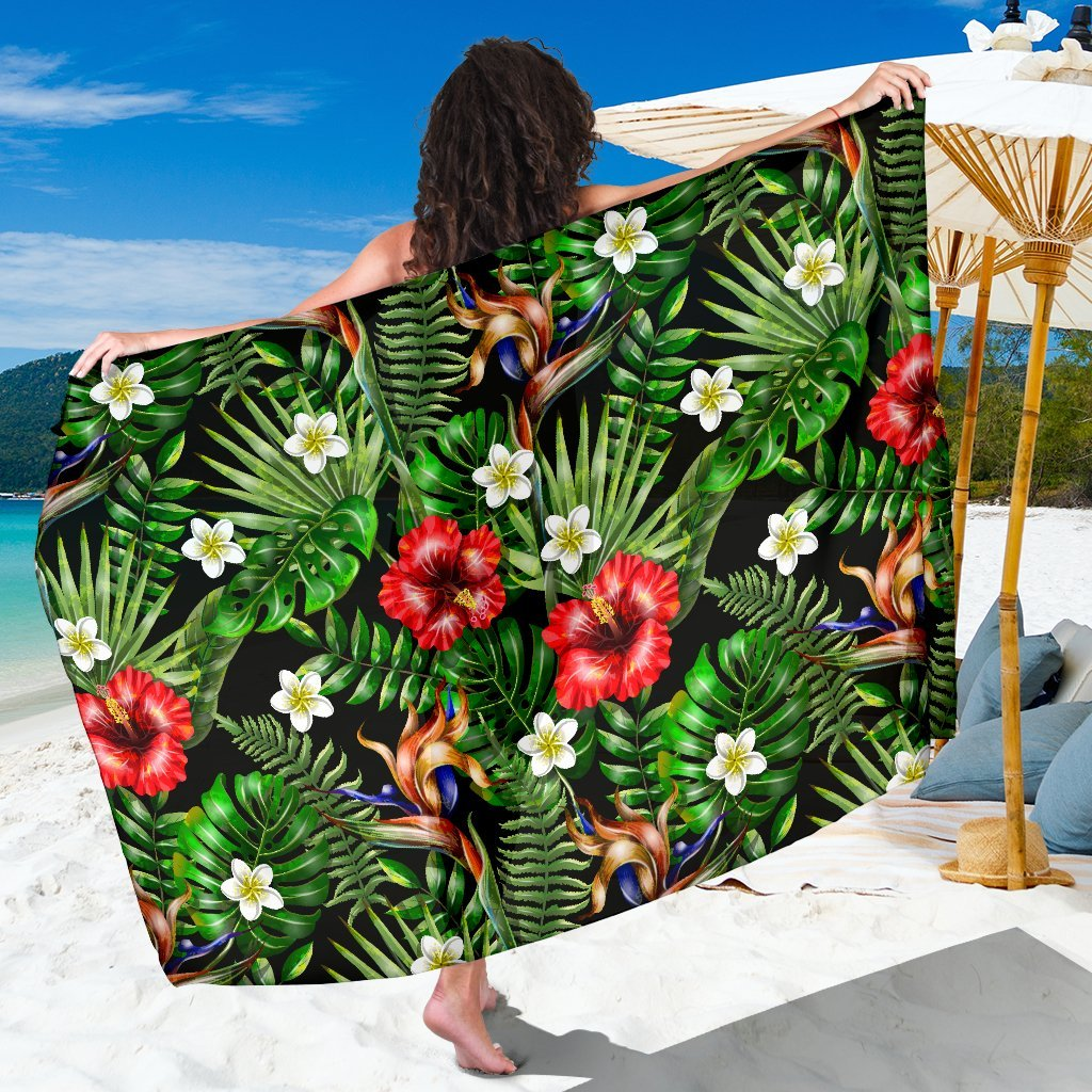 Hawaiian flower red Hibiscus tropical Beach Sarong Pareo Wrap