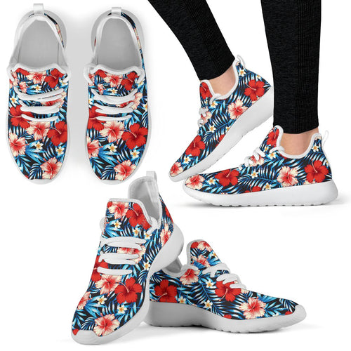 Red Hibiscus Blue Scene Mesh Knit Sneakers Shoes