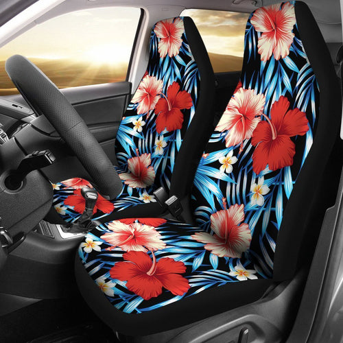Floral Red Hibiscus Hawaiian tropical flower Universal Fit Car Seat Covers
