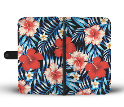 Plumeria Hibiscus Hawaiian Flowers Floral Wallet Phone Case