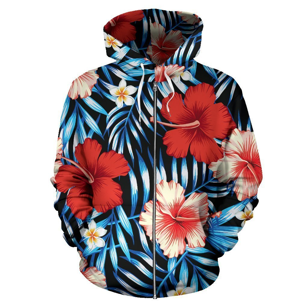 Red Hibiscus Hawaiian Tropical Flower Women Men Zip Up Hoodie