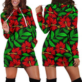 Red Hibiscus Embroidered Pattern Print Design HB032 Women Hoodie Dress
