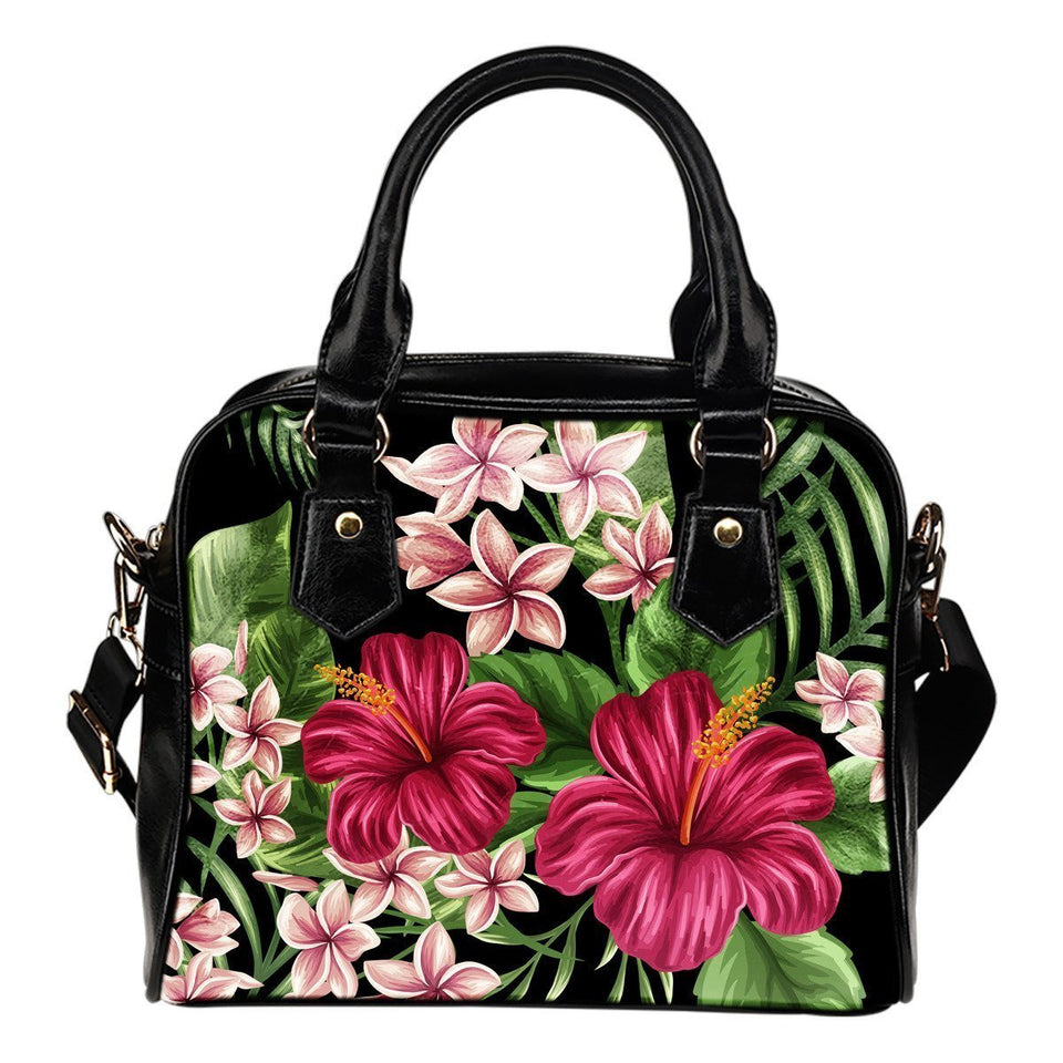Red Hibiscus Hawaiian Flower Leather Shoulder Handbag